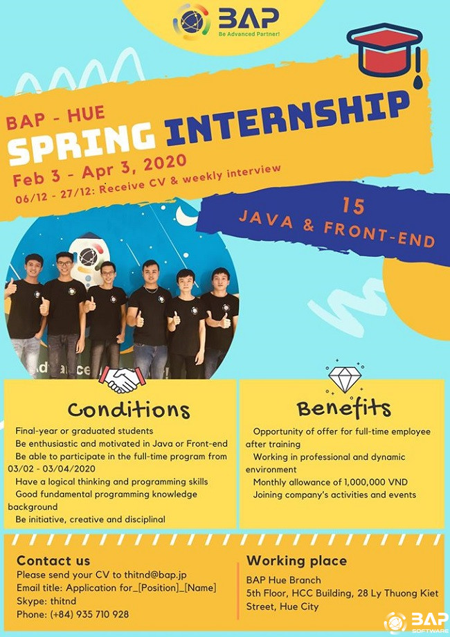 spring internship in bap hue